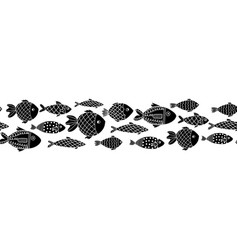 monochrome fishes seamless border black on vector image