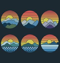 mountain sunset retro vector image