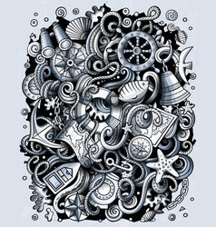 Nautical hand drawn doodles funny vector