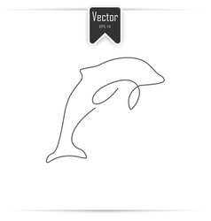 One line dolphin design silhouette vector