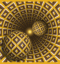 optical two balls move in rotating hole vector image