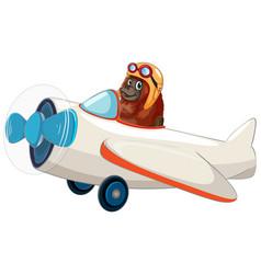 Orangutan riding an airplane vector