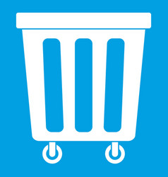 outdoor plastic trash can icon white vector image