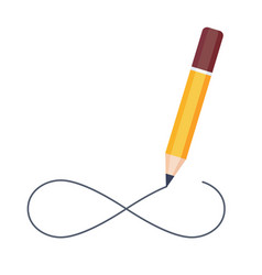 Pencil drawing infinity symbol isolated on white vector