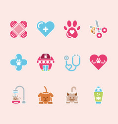 Pet shop grooming vet care icons set vector