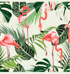 pink flamingo and exotic green palm leaves vector image