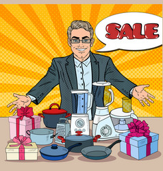 Pop art smiling seller with household appliances vector