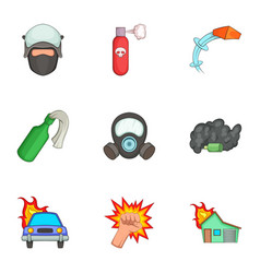 Protest icons set cartoon style vector