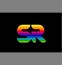 rainbow color colored colorful alphabet letter sr vector image