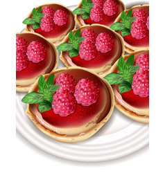 raspberry mini cakes realistic sweet tasty vector image