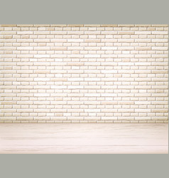 realistic brick wall wooden floor room vector image