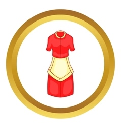 Red housewife dress with white apron icon vector