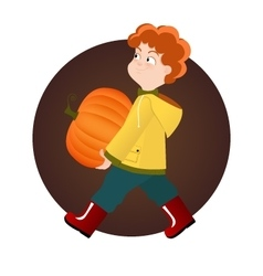 Red kid boy holding pumpkin on Halloween vector