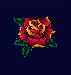 red rose with green leaves on vector image