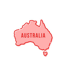 Red simple thin line australia cartoon icon vector
