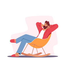 Relaxed male character in home clothes vector