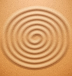 Ripple spiral drawing on the sand vector image