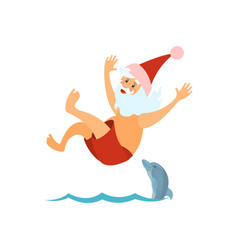 Santa claus diving in red hat new year character vector