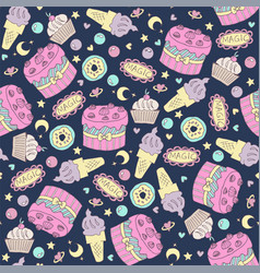 Seamless pattern with birthday cake vector
