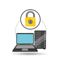 Security laptop data server vector