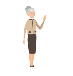 Senior caucasian business woman waving hand vector