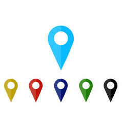 set colorful map pointer location pin icon marker vector image