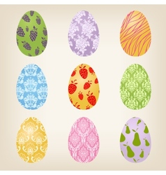 Set of nine Easter Eggs vector image
