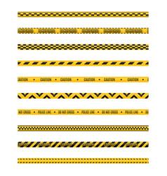 Set seamless yellow and black warning tapes vector