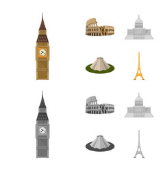 Sights of different countries cartoonmonochrome vector