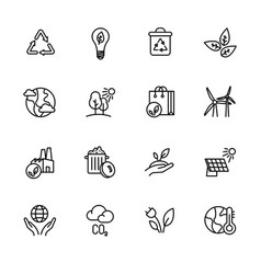 simple icon set ecology and nature care vector image
