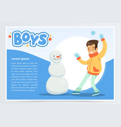 smiling boy making a snowman boys banner for vector image