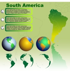 South America map on green background vector image