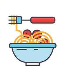 Spaghetti bolognese with meat balls italian vector