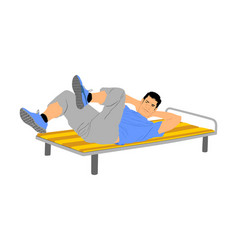 Sport man doing crunches exercise in gym vector