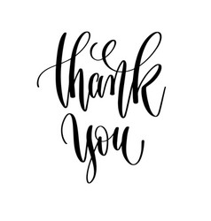Thank you - black and white hand lettering vector