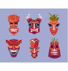tiki masks hawaiian tribal totem god faces vector image