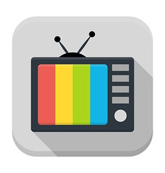 TV flat app icon with long shadow vector image