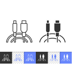 Usb cable simple black line icon vector
