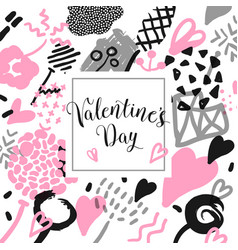 valentines day card with romantic elements vector image