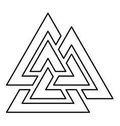 Valknut symbol icon black color outline flat vector