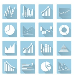 Various symbols of graphs flat blue icons eps10 vector