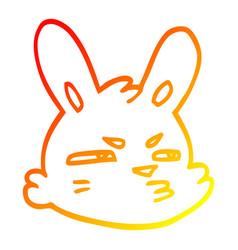Warm gradient line drawing cartoon moody rabbit vector