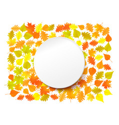 white paper circle with yellow autumn leaves vector image