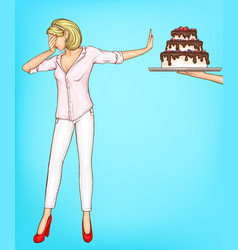 woman refuse eating cake piece with stop gesture vector image