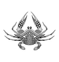 Zentangle stylized King Krab Hand Drawn boho vector