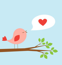cute bird and speech bubble with heart vector image vector image