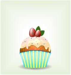Delicious cupcake with milky chocolate cream vector
