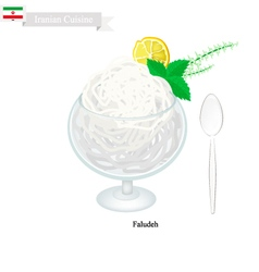 Faludeh or Iranian Rice Noodle And Rose Water vector image vector image