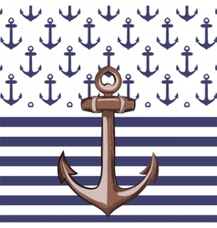 Nautical or marine themed pattern with anchor vector