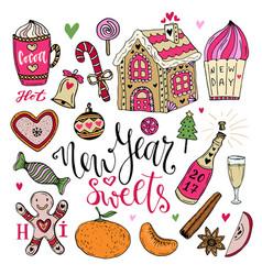new year sweets set christmas hand drawn bright vector image